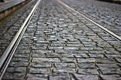 Tram tracks in cobblestones. At Old Town royalty free stock photo
