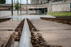 Tram Tracks, Low Angle, Budapest Royalty Free Stock Images