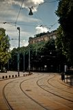 Tram tracks in milan Stock Photography