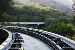 Tram tracks in the mountains of Los Angeles, USA. Stock Image