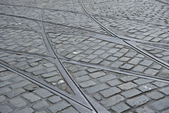 Tram Tracks Pattern Royalty Free Stock Photos