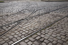 Tram Tracks in Riga Royalty Free Stock Images