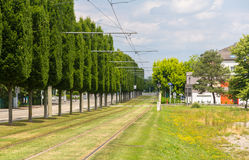 Tram tracks in Strasbourg, France Royalty Free Stock Images
