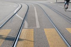 Tram Tracks on Street with Cyclist Stock Images