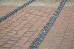 Tram Tracks in Streets of Saragossa, Aragon Stock Photos