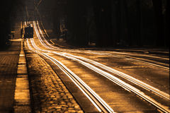 Tram tracks at sunset Stock Image