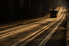 Tram tracks at sunset Stock Photography
