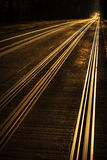 Tram tracks at sunset Stock Images
