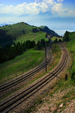 Tram tracks in Switzerland Royalty Free Stock Image