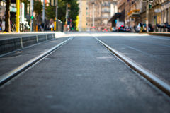 Tram tracks to infinity Royalty Free Stock Images