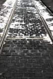 Tram tracks under the snow, background Royalty Free Stock Photo