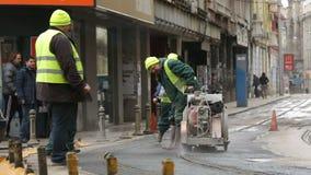 Tram tracks workers stock video
