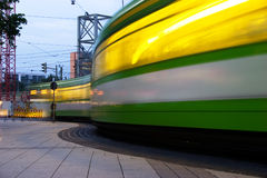 Tram traffic lights. Long exposure Traffic lights of passing tram in Hanover, germany Royalty Free Stock Images