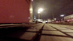 Tram traffic at night. MOSCOW: MAR 07, 2015: Tram traffic at night on Komsomolskaya square in Moscow stock footage