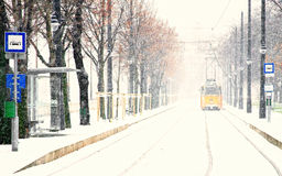 Tram and tramlines. In Budapest at winter with snow Royalty Free Stock Photo