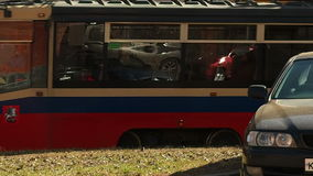 Tram 13. Tramway 71-619 travels on rails side view closeup looped infinity video cars on front stock video footage