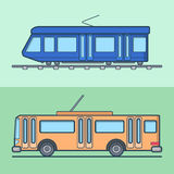 Tram trolleybus trolley bus public transport set. Royalty Free Stock Image
