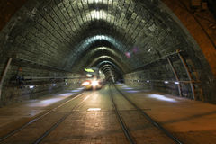 Tram in Tunnel Royalty Free Stock Photography