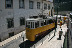 Tram uphill in Lisbon Royalty Free Stock Images