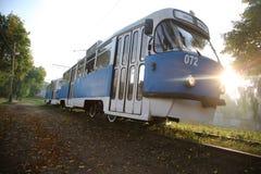 tram Vagone blu Immagine Stock Libera da Diritti