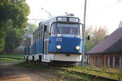 tram Vagone blu Fotografia Stock Libera da Diritti