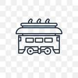 Tram vector icon isolated on transparent background, linear Tram vector illustration