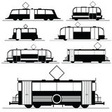 Tram vector illustration in black Royalty Free Stock Photos