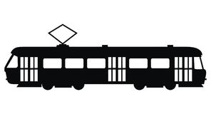 Tram, Vektorikone, schwarzes Schattenbild Stockbilder