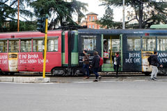 Tram. View of a tram stop in Rome Royalty Free Stock Image