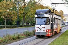 Tram von Linie Rabot-Melle Leeuw in Gent Lizenzfreie Stockbilder