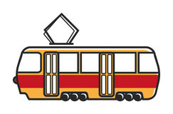 Tram wagon with special metal antenna isolated illustration Stock Images