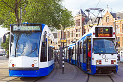 Tram waiting in front of the central station in Amsterdam Netherlands Stock Image