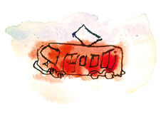 Tram watercolor Royalty Free Stock Photography