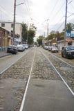 Tram ways at Gorkogo street Stock Photo