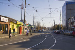 Tram ways at Sadovaya street Royalty Free Stock Photography