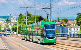 Tram on Wettstein Bridge in Basel Stock Images
