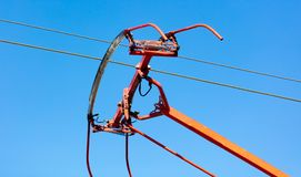 Tram wires against the blue sky. In the city Royalty Free Stock Photo