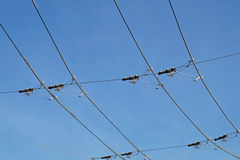 Tram wires. With blue sky background stock images