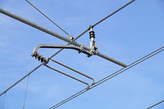 Tram wires. With blue sky background stock image