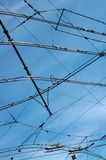 Tram wires in sky Royalty Free Stock Photography