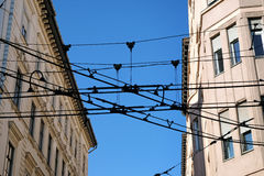 Tram wires spoil the appearance of the houses Stock Images
