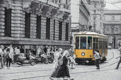 Tram is always Yellow at Milan Italy. Near Vittorio Emmanuelle Gallery Royalty Free Stock Photos