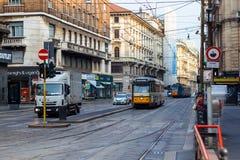 Tramcar в милане Стоковые Изображения