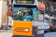 Tramcar в милане Стоковая Фотография