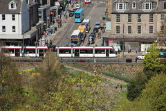 A tramcar in the old town in Edinburgh seen from the Castle Hill Stock Photo