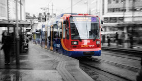 Tramcar in Sheffield. Shoot in Sheffield, uk; a traveling tramcar Stock Image