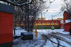 Tramdepot in Moskou Stock Fotografie
