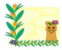 Trame avec les centrales tropicales et le Tiki illustration stock