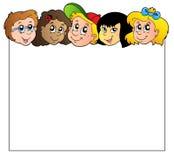 Trame blanc avec des visages d'enfants Photographie stock libre de droits