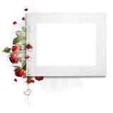 Trame blanche avec des roses Image stock